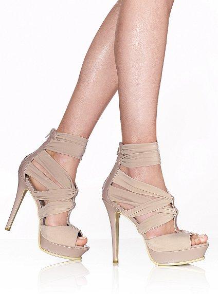 kumaş bantlı fermuarlı palrform pudra renkli ayakkabı modeli
