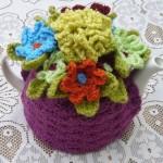 mürdüm renkli çiçekli çaydanlık kılıfları