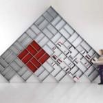 modüler piramit kitaplık tasarımı