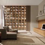 modern ahşap sade kitaplık tasarımı