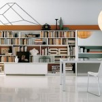 modern beyaz ççalışma odası kitaplık tasarımı