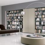 modern gri gömme kitaplık tasarımı