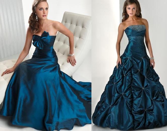 parlement mavisi inci büzmeli kabarık nişan elbisesi