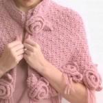 pembe gül motifli pelerin modelleri