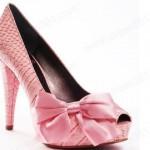 pembe kurdela fiyonklu yüksek topuklu ayakkabı
