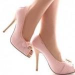 pudra pembsi zarif yüksek topuklu tokalı ayakkabı