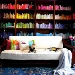 renkli modern ev kütüphane kitaplık