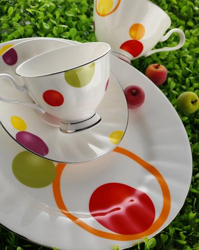 renkli puanlı kahvaltı takımı örneği