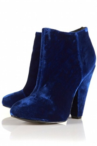 saks mavisi kalın topuklu kısa bot örneği