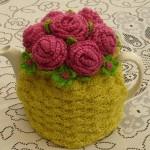 sarı pembe çiçekli  çaydanlık kılıfı
