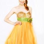 sarı simli en güzel genç abiye elbiseler