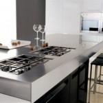 siyah beyaz amerikan mutfak ocak tasarımı