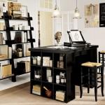 siyah modern kitaplık çalışma masası tasarımı