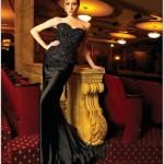 siyah pullu straplez yni sezon elbisler