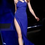 ska mavi derin yırtmaçlı elbise