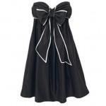 straplez dökümlü fiyonklu elbise örneği