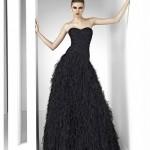 straplez kabarık siyah elbise