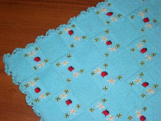 tek şiş uğur böcek işlemeli bebek battaniye