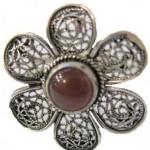 telkari çiçek motifli gümüş yüzük