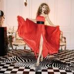 trend renkte kemerli yırtmaçlı elbise