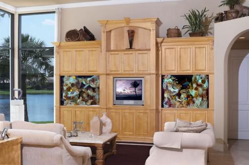 tv ünitesi dekoratif akvaryum