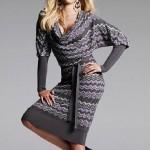 yarasa kollu degaje yakalı elbise örneği