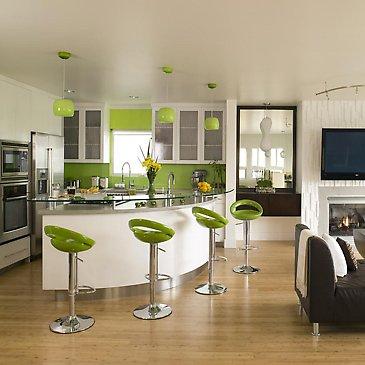 yeşil amerikan mutfak tasarımı