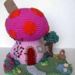 örgü rengarenk mantar oyuncak ev örneği