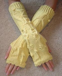 şiş örgüsü sarı uzun parmaksız eldiven modeli