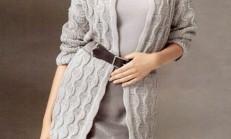 Gri Renkli Oval Yaka Bayan Tunik Hırka Modeli
