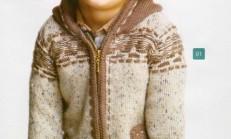 Modelli Kapüşonlu Erkek Çocuk Hırka Örneği