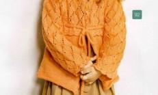 Ajur Modelli Turuncu Renkli Kız Çocuk Hırka Örneği