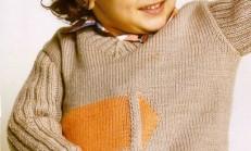 İki Renkli Modelli Erkek Çocuk Kazak Örneği