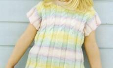 Saç Örgü Modelli Renkli Yarım Kollu Çocuk Kazak Modeli