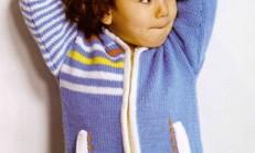 Kapüşonlu Mavi Renkli Erkek Çocuk Spor Hırka Modeli