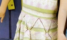 Yarım Kollu Desenli Örgü Çocuk Elbise Modeli