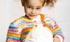 Haraşo Modelli Renkli Kız Çocuk Bolero Örneği