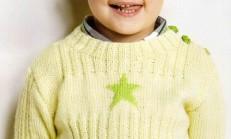 Omuzdan Düğmeli Yıldız Desenli Çocuk Kazak Modeli