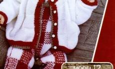 Kırmızı Beyaz Bebek Hırkası Modeli
