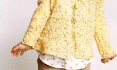 Sarı Renkli Şirin Kız Çocuk Hırka Modeli