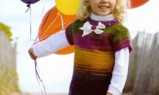 Fiyonklu Örgü Çocuk Elbise ve Şapka Modeli