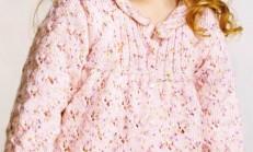 Burgu Yakalı Pembe Kız Çocuk Hırka Modeli