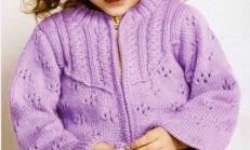Lila Renkli Delikli Ajur Desenli Çocuk Hırka Modeli