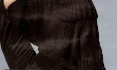 Yarasa Kol Şal Yaka Siyah Bayan Kazak Örneği
