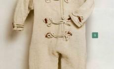 Fermuarlı Düğme Süslemeli Örgü Bebek Tulumu Modeli