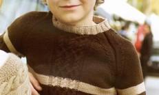 Saç Örgüsü Modelli İki Renkli Erkek Çocuk Kazak Örneği
