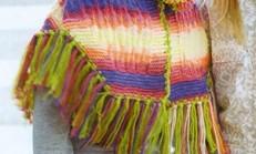 Kapüşonlu Renkli Kız Çocuk Panço Modeli