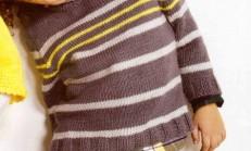 Çizgili Yuvarlak Yaka Erkek Çocuk Kazak Modeli