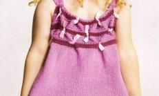 Fuşya Rengi Kurdele Süslemeli Örgü Elbise Modeli