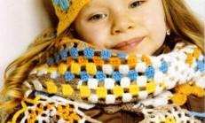 Sarı Renkli Şirin Kız Çocuk Atkı ve Bere Takımı